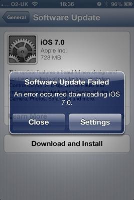 IOS7 OTA Error
