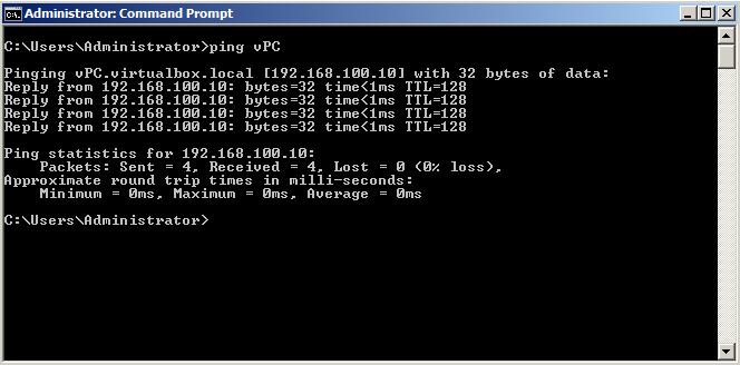 Ping vPC from vServer